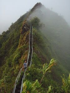 Haiku Ladder - 3922 steps known as Stairway to Heaven in Oahu.  Knew I was having angst for a reason...Eric began the ascent at 2am! It