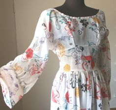Vintage 60's Party Dress,  Sheer White, Red, Yellow, Multicolor Floral, Women's Size Small. $79.00, via Etsy.