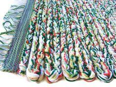 Loom Woven Yarn Rug, 26 x 44, Acrylic Yarn, Kitchen Rag Rug, Bath Mat, Nursery Decor, Thick Comfy Rug, Unique Style, Summer Color
