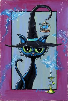 Summoning the Bird Spirits by Joanna Nelson Halloween Rocks, Halloween Pictures, Halloween Art, Vintage Halloween, Halloween Painting, Halloween Prints, Black Cat Art, Autumn Painting, Cat Drawing