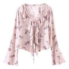 Printed Lace Up Frilly Blouse Pink ($26) ❤ liked on Polyvore featuring tops, blouses, www.zaful.com, frill top, pink top, frilly blouse, lace up blouse and pink lace up top