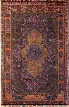 """Persian Qum rug, the """"Persepolis"""" rug, silk"""
