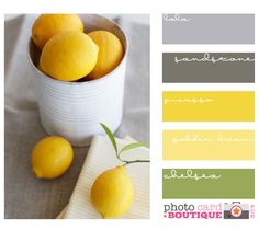 Pinned for Joan- EXACTLY how I want my kitchen someday. grey + yellow + a little hint of green color inspiration for kitchen, living/dining room and staircase leading into upstairs hallway