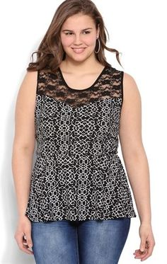 Deb Shops Plus Size Patterned Jacquard #Peplum Tank with Illusion Lace $18.75