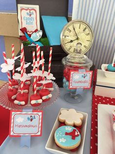 Cute marshmallow pops at an airplane birthday party! See more party planning ideas at CatchMyParty.com!