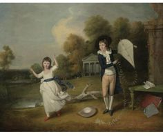 Portrait of Henry Frederick Bouverie and his sister by John Downman. The young boy depicted in the present work holding his kite is Sir Henry Frederick Bouverie (1783-1852) together with one of his five sisters. The third son of the Hon. Edward Bouverie, he went to Eton College in May 1793 and later joined the Coldstream Guards. He received many orders of distinction for his service in the army and the pinnacle of his career was when he was appointed governor and commander- in-chief of the…