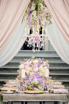 Floral centrepiece with chandelier