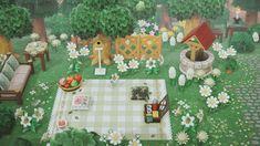Animal Crossing Cafe, Animal Crossing Villagers, Picnic Blanket, Outdoor Blanket, Motif Acnl, Island Design, Wishing Well, Drinking Tea, Garden Design