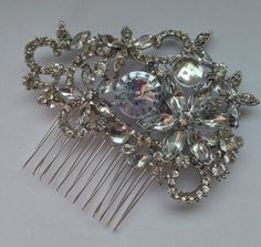 Silver Crystal Flower Hair Comb Vintage Glamour Suit Jenny Packham Dress