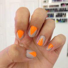 This nail art. this color combo neon nail designs, orange nails, cute nails, Tan Nails, Hair And Nails, Neutral Nails, Neon Nail Designs, Nail Envy, Orange Nails, Creative Nails, Nails Inspiration, Beauty Nails