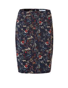 Navy Floral Pencil Skirt, Navy/Rust/Tan/Ivory/Sage