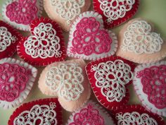 Tatted Heart Magnets Set of three Valentine Hearts by LaceAmour, $15.00