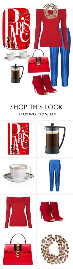 """""""Cafe`Style"""" by parnett ❤ liked on Polyvore featuring Chronicle Books, Bodum, Royal Crown Derby, Halston Heritage, Gucci and Chanel"""