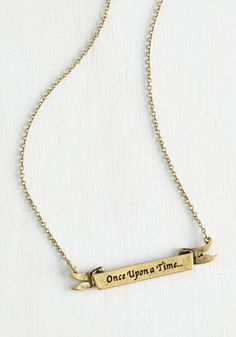 Opening Line Necklace - Solid, Fairytale, Scholastic/Collegiate, Nifty Nerd, Sayings, Gold, Exclusives, Gals, Under $20