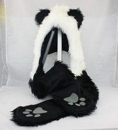 Amazon.com: Panda Animal Hood Faux Fur Hat with Warm Scarf Mittens Ears and Paws Spirit: Toys & Games