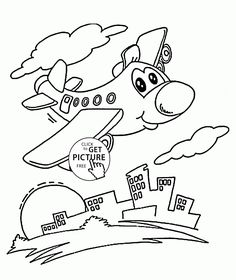 Funny Plane Over City Coloring Page For Preschoolers Transportation Pages Printables Free