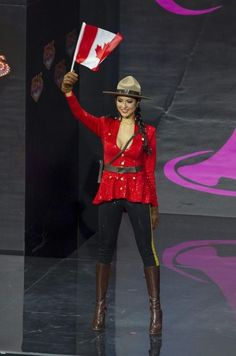 Of course, it is a beauty pageant, so it's normally full of sexy cultural representations. For example: Miss Canada. | Miss USA Wore A Transformers Costume In The Miss Universe Pageant And It Wasn't Even The Most Ridiculous Outfit