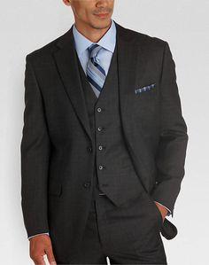 Jones New York Gray   Brown Plaid Vested Modern Fit Suit - Men s Modern Fit   c7b4b552664