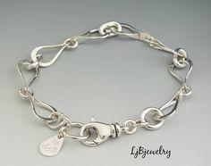 Silver Link Bracelet, Chain Bracelet, Sterling Silver, Handmade, Metalwork, Metalsmith, Artisan Jewelry by LjBjewelry on Etsy