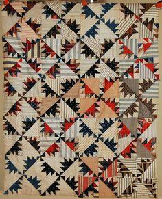 VIBRANT 1890's Vintage Delectable Mountain Kansas Troubles Antique Quilt Top!