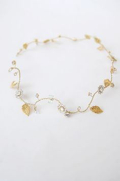 Bridal gold halo wire headband golden leaf crown tiara by Elibre, $95.00