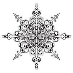 Ornamental black and white snowflake. Tattoo pattern photo