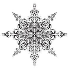 Ornamental black and white snowflake. Tattoo pattern photo