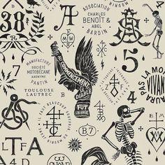 Black and cream French print Merman's skeleton La Santa Muerte Tattoo, Nautique Vintage, Inspiration Logo Design, Design Ideas, Tattoo Flash Art, Badge Design, Grafik Design, Tattoo Drawings, Design Art