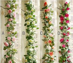 Flower Ivy Garland 86Artificial Silk Rose Garland 2 Strands Fake Flower Ivy Leaf Vine Plants Home Hanging Wedding Decor   <<<Theres 2 pieces of A, 2 pcs of B, 2 pcs of C, and 2 pcs of D in the first photo. >>> And each 2 X 2.5 meters rose garlands are intertwined together. Item Specification:  Length: 2.2 meters/ 86 inches Flower quantity: There are 16 flowers on each flower garland  Colors: Ivory, Champagne, Fuschia, Red, Light Pink  Usage: Making pomander kissing ball...