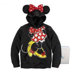 Disney Parks Minnie Mouse Ear Hoodie Adult Womens Pullover Sweater