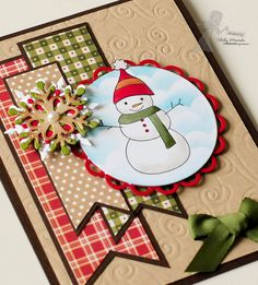 Gorgeous muted tones for the shabby chic Snowman Christmas card, from Popsicle Toes (blog)