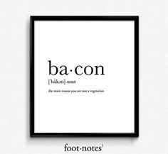 Bacon definition, dictionary art print, dictionary art, office decor, minimalist poster, funny definition print, definition poster, quotes