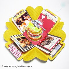 This is Inside View of Wedding Anniversary Gift with Intense Yellow Design Theme and featuring Round Cake in the middle