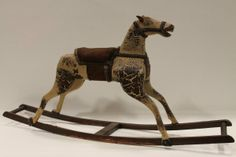 Late 1800s Carved Wooden Rocking Horse