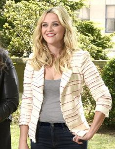 Reese Witherspoon hosting SNL Episode 1682 (May 4, 2015), wearing an Isabel Marant Etoile Glenn Striped Tweed Jacket. #reesewitherspoon #style
