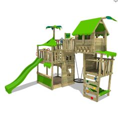 FATMOOSE children´s climbing frame TropicTemple Tall XXL with nest swing. High quality and colourful climbing frames at small prices in the FATMOOSE shop. Backyard Swings, Backyard Playground, Backyard For Kids, Playground Design, Outdoor Play Areas, Outdoor Games, Outdoor Toys, Wooden Climbing Frame, Climbing Frames