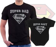 Super Dad and Super baby, Dad and Baby Matching t shirt bodysuit, onepiece Superhero set, black and white, christmas gift for dad and baby