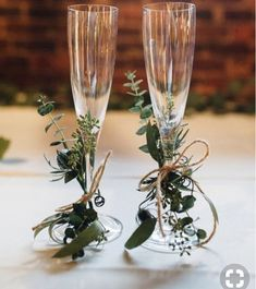 Champagne glasses decorated with twine + greenery for the newlyweds {Cameron Reynolds Photography} # diy wedding glasses Classic Georgia Warehouse Wedding Fall Wedding, Dream Wedding, Wedding Rustic, Trendy Wedding, Wedding Reception, Wedding Venues, Wedding House, Indoor Wedding, Church Wedding