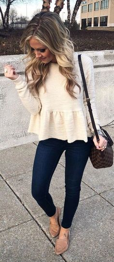 #spring #outfits woman wearing white long-sleeved shirt , blue skinny jeans and pair of pink pointed-toe flats. Pic by @thestyledduo