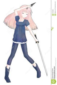 Photo About An Illustration Of Anime Ninja Girl Holding A Kunai And Ninjato Sword