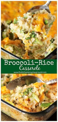 Cheesy Broccoli-Rice Casserole ~ A perfectly tasty side dish for Easter, Thanksg. - Cheesy Broccoli-Rice Casserole ~ A perfectly tasty side dish for Easter, Thanksgiving, Christmas, o - Broccoli Recipes, Vegetable Recipes, Vegetarian Recipes, Cooking Recipes, Healthy Recipes, Healthy Rice, Cheesy Broccoli Rice Casserole, Chicken Casserole, Broccoli Bake