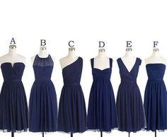 Mismatched Bridesmaid Dress,Short Bridesmaid Dress,Chiffon Bridesmaid Dress,Navy Bridesmaid Dress, BD126