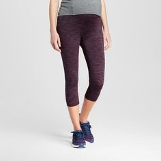 Women's Maternity Over the Belly Freedom Yoga Capri - Dark Berry Purple/Black Space Dye M - C9 Champion