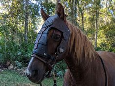 Arod Chanfron Horse Face Armor in Brown Leather Color - Medieval Equine Foam Armor Barding Costume - Truck Bed Liner, Foam Armor, Horse Armor, Wood Burning Tool, Horse Face, Gifts For Horse Lovers, Legolas, Making Out, Medieval