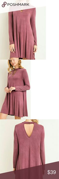 Bf Sale!! << Lace Up Cutout Wine Fall Dress >> This dress is a fall must have! A combination of all the trendiest trends. Solid wine color with mock neck and cutout with lace - up detail. Cutout on back too with button closure!  95% Rayon 5% Spandex Boutique Dresses