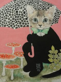 The young illustrator Yuko Higuchi makes these disturbing illustrations, where the ingenuity of humanized cats intertwined with the potential danger of the mushrooms and toadstools . Art And Illustration, Illustrations, I Love Cats, Crazy Cats, Cool Cats, Japanese Contemporary Art, Creation Art, Cat Drawing, Cats And Kittens
