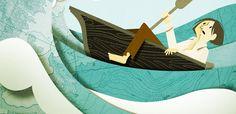 Colagem - mar, barco, texturas