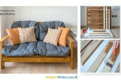 Save money by making your own DIY Pallet Sofa with this handy tutorial! See for yourself how to turn pallets into your own personalised and comfy sofa. Outdoor Pallet Bar, Pallet Dining Table, Pallet Lounge, Diy Pallet Sofa, Diy Outdoor Table, Pallet Walls, Diy Pallet Furniture, Diy Pallet Projects, Pallet Ideas
