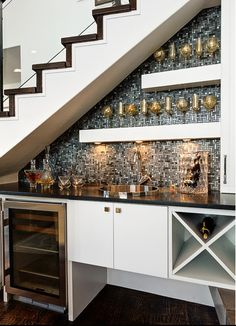 stair design with mini bar with cabinets : Under Stair Design With Mini Bar. bar under stairs ideas,built bar under stairs,house stairs design,mini bar under stair,stair design ideas Bar Under Stairs, Space Under Stairs, Kitchen Under Stairs, Under Stairs Pantry Ideas, Under Staircase Ideas, Under Basement Stairs, Under Stairs Wine Cellar, Bathroom Under Stairs, Small Bars