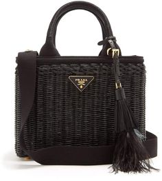 Prada Canvas and wicker woven bag